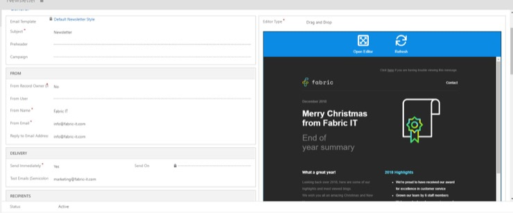 Example of editing email send in click dimensions