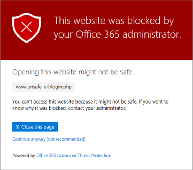 """ATP - Pop up showing """"this website was blocked by your Office 365 administrator"""""""