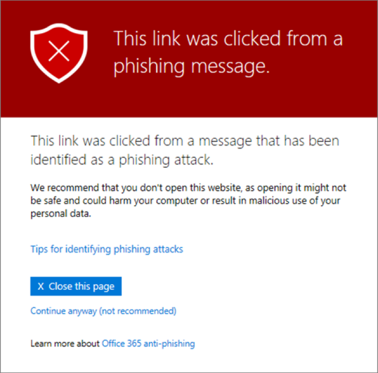 """ATP - Pop up showing """"this link was clicked from a phishing message"""""""