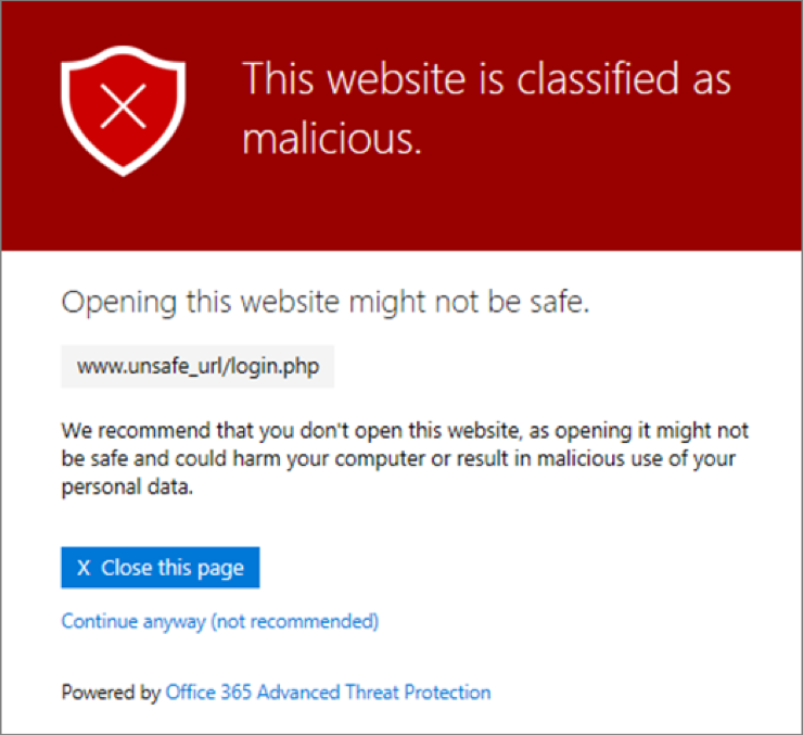 """ATP - Pop up showing """"this website is classified as malicious"""""""