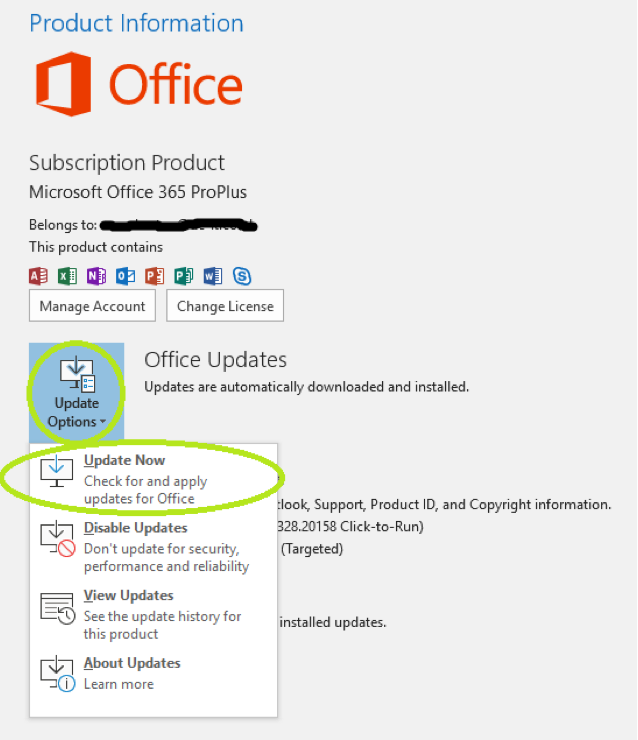 screenshot on how to update update office