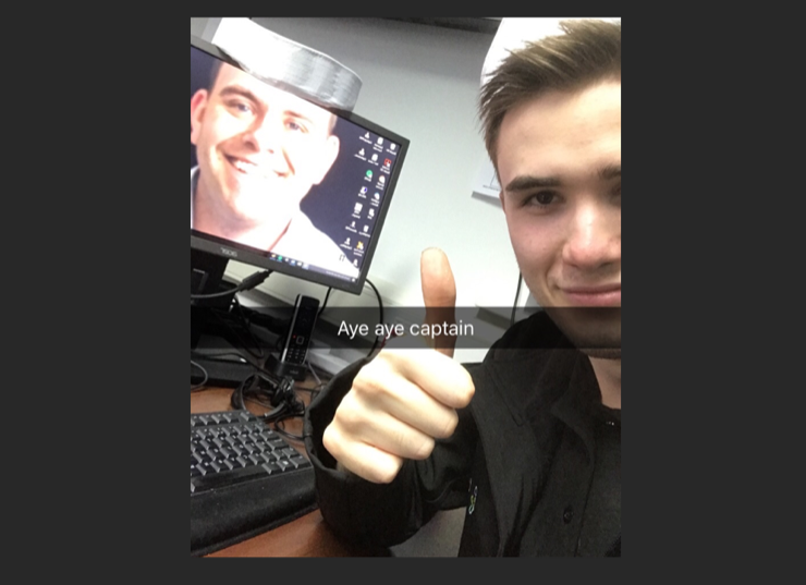Engineer, Josh, with Adams Picture as his PC wallpaper
