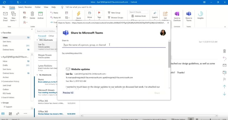 share to Teams from Outlook