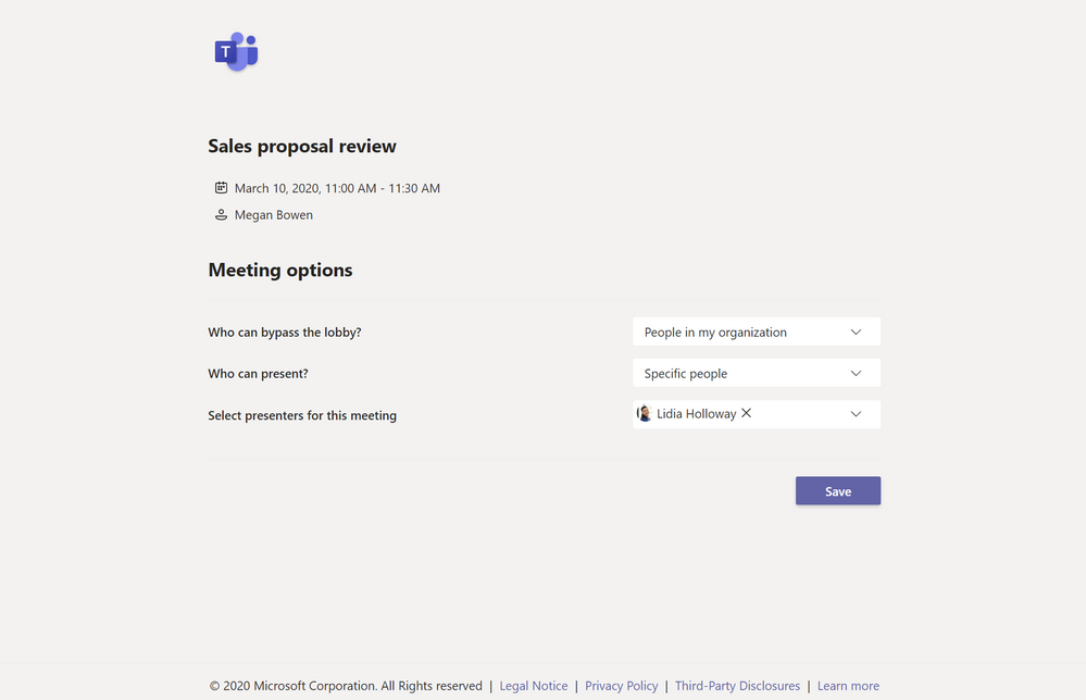 Meeting options user interface showing roles and permission available