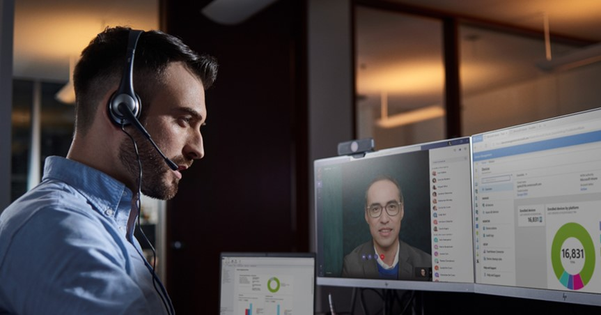 Male using Microsoft Teams with Headset