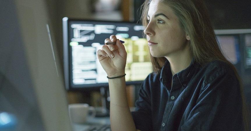 Woman monitors office